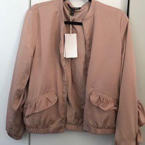 NWT Zara ruffled bomber jacket